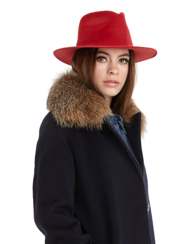 Ryan Roche | Fedora Style Angora Hat in Red