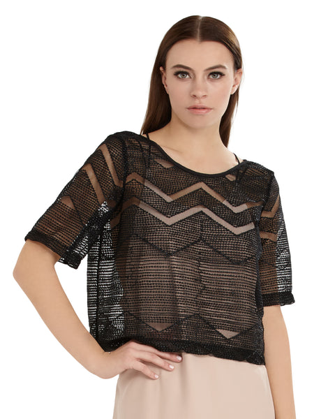 Morgan Carper Beaded Chevron Pattern Boxy Top | Black