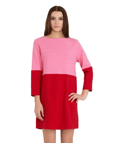 Apiece Apart Tee Dress in Red & Pink | Color Block