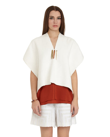 VOZ Flamme Poncho in Ivory | SAANS.COM