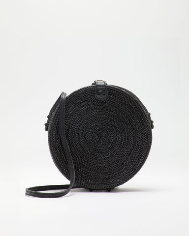 SAANS | Natural Straw 212 LUNA Crossbody Bag in Black | front view