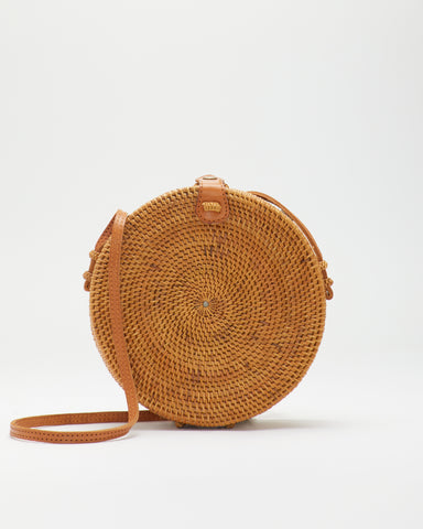 310 LUNA hand-woven round Crossbody Bag in Natural by SAANS