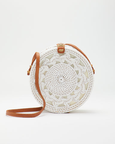 SAANS | Handwoven 415 LUNA Round Crossbody Bag in White