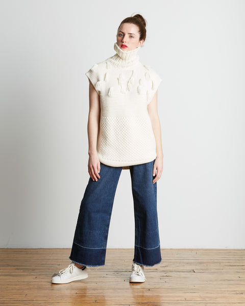 Apiece Apart | Ines Fringe Knit Sweater Vest in Cream