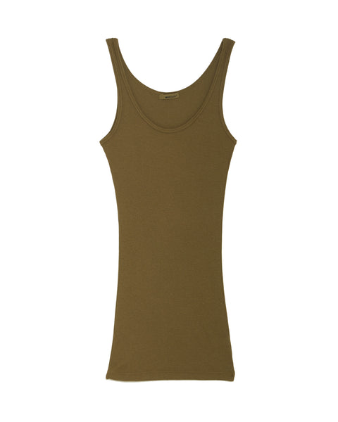 Double U Ribbed Knit Tank Top in Green by LAmade
