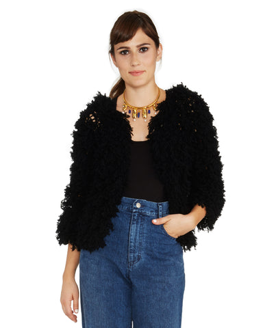 Ryan Roche | Shaggy Cashmere Fringe Open-Front Cardigan in Black