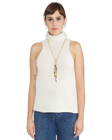 Ryan Roche's Cashmere Sleeveless Turtleneck Sweater in Winter White