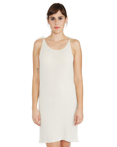 Ryan Roche | Cashmere Tie Slip Dress in Ivory