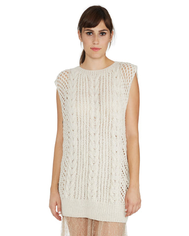 Ryan Roche | Cashmere Cable Knit Sweater Vest in Ivory
