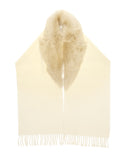 Brogden Wool Scarf with Shearling in Ecru | Made in Italy