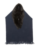 Brogden Wool and Shearling Scarf in Navy