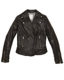 Brogden Leather Moto Jacket in Black | SAANS.COM