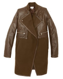 Brogden's luxe cocoa wool and leather coat | SAANS.COM