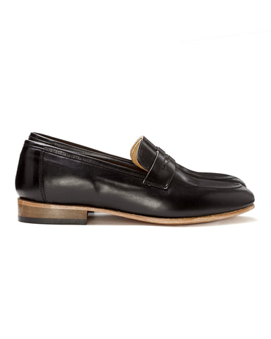 Dieppa Restrepo | Leather Penny Loafers in Jet Black