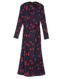 Surveillance Silk Dress in Indigo with Red Poppies by Rachel Comey