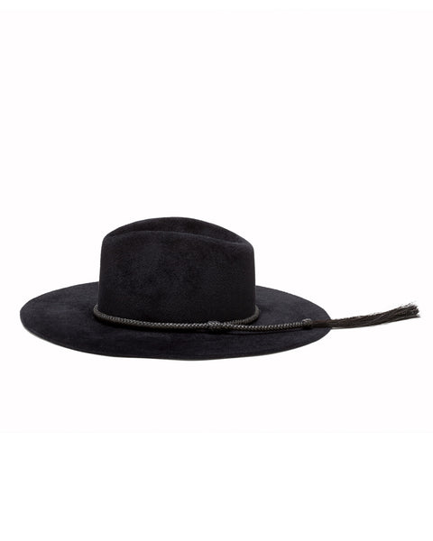 Ryan Roche | Wide Brim Angora Hat in Black