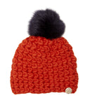 Mischa Lampert Merino Wool Orange Beanie with Pom