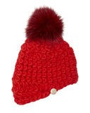 Red Merino Wool Beanie with Pom by Mischa Lampert