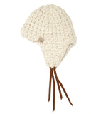Mischa Lampert Merino Wool Beanie with Straps in White