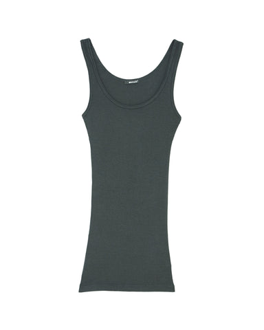 Double U Ribbed Knit Tank Top in Kelp by LAmade