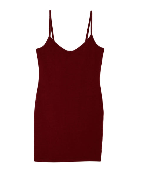 LAmade V Neck Slip Dress | Syrah Red