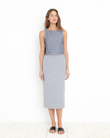 Apiece Apart Vittoria Straight Skirt in Stripe Jacquard