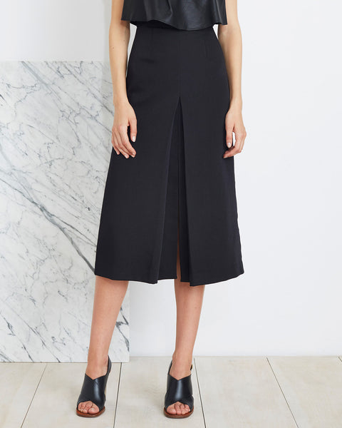 Apiece Apart Isabel Double V Skirt in Black | front view