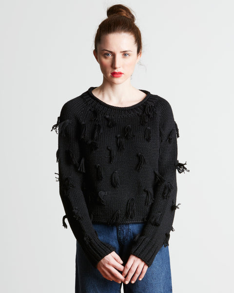 Apiece Apart Luluc Fringe Crew Sweater in Black