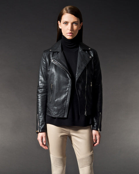 Brogden Leather Moto Jacket Jet Black Saans