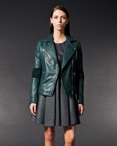 Brogden Leather Moto Jacket | British Green