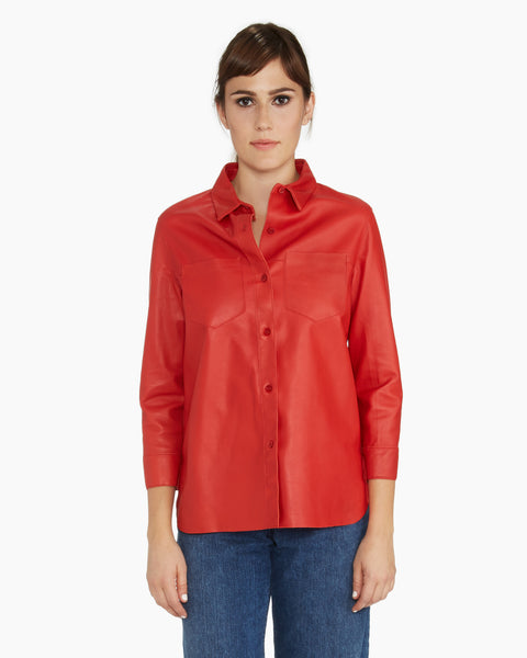 Red Leather Shirt by Brogden | Made in Italy