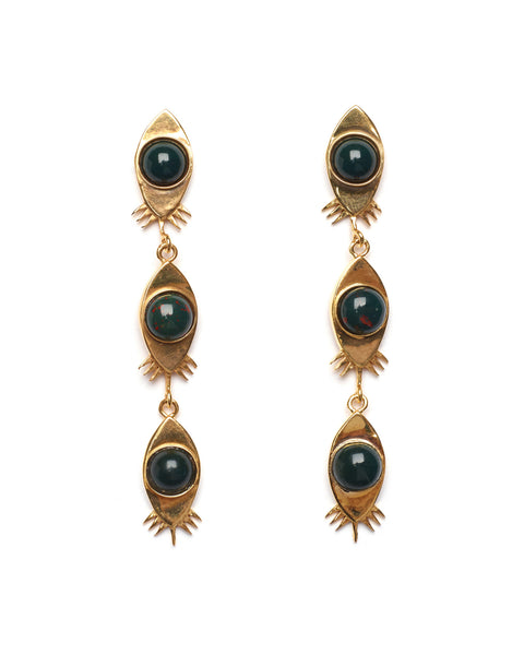 Lizzie Fortunato Red Eye Earrings in Bloodstone