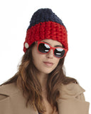 Mischa Lampert Merino Wool Beanie in Navy and Red