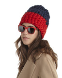 Mischa Lampert Merino Wool Beanie | Navy & Red