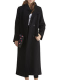 Fleurette Soft Wool Coat with Standing Collar | Black