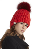 Mischa Lampert Red Merino Wool Beanie with Pom