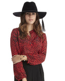 The Podolls | Red Leopard Print Silk Top
