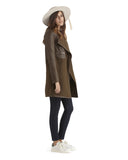 Brogden's luxe cocoa wool and leather coat | Made in Italy