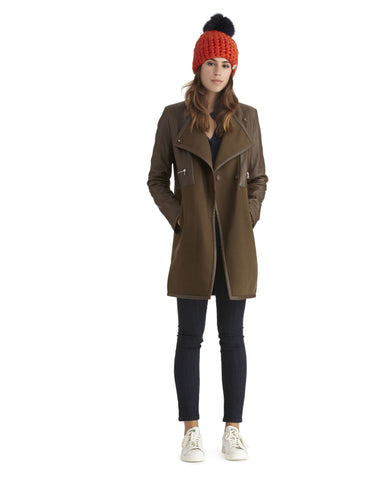 Broaden wool and leather coat | SAANS.COM