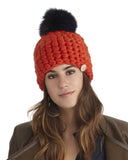 Mischa Lampert Merino Wool Beanie with Pom in Orange