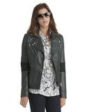 Brogden Leather Moto Jacket in Bottle Green