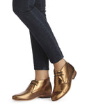 Dieppa Restrepo Lupe Flat Ankle Boot |  Leather Bronze Metallic