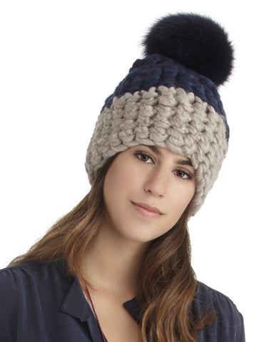 Mischa Lampert Merino Wool Beanie with Pom in Navy and Taupe