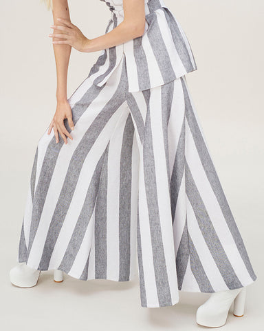 PAPER London Striped Wide Leg Kelly Trousers | Made in the U.K.