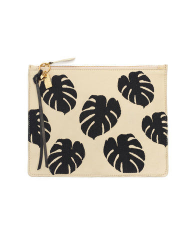 Lizzie Fortunato Creme Leather Zip Pouch in Palm