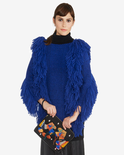 Rachel Comey | Fringe Turtleneck Pullover in Royal Blue