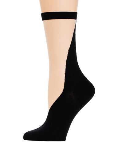 Rachel Comey | V Front Sheer Crew Socks in Black