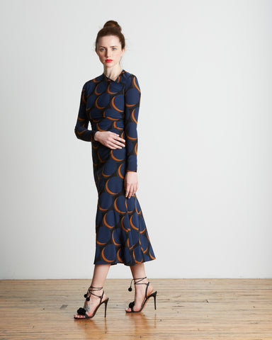 Rachel Comey Surveillance Dress in Waning Moon Print