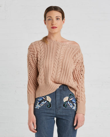 Ryan Roche Cashmere Fisherman's Sweater | Rose