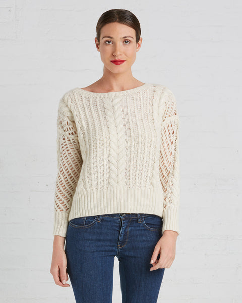 Ryan Roche Fisherman Cashmere Sweater in Ivory